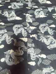 ☆新品黒×雲龍和柄ダボシャツ110