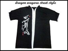 レア!ドラゴン龍 新品 和柄 スタイル ストリート カットソーD9(L) 黒