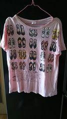 アメカジ★靴柄★ピンクTシャツ★size L