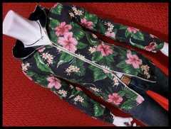 特価品 綿麻プリペラ花柄ボタニカルフードJKT/NAVY/M