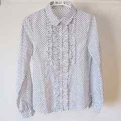 JAYROwhiteジャイロホワイト 白×黒 ドット柄 フリル付きシャツブラウス 長袖 丸襟