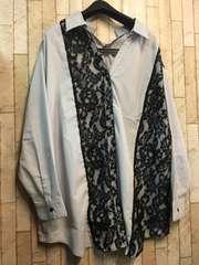 新品☆4L異素材つかいスキッパーシャツ♪ブラウス5800円を!s134