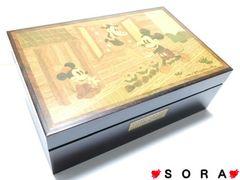ディズニー【ミッキー】可愛い♪オルゴール&ミラー付 木製宝石箱 ジュエリーケース
