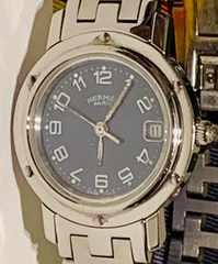良品エルメスクリッパーレディース時計ネイビー文字盤CL4.210