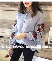 4L大きいサイズ/お花刺繍〜ストライプシャツ