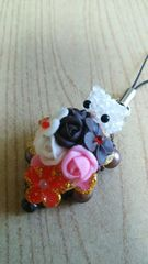 しろねこチョコブーケストラップb オリジナル ハンドメイド 猫 ネコ