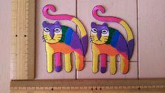 NO.164 アイロンワッペン 2枚セット ネコ ねこ 猫