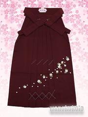 【和の志】女性用無地刺繍袴◇Sサイズ紐下丈87cm◇エンジ系