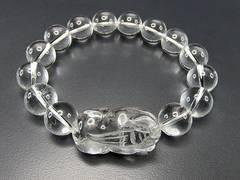 『蓄財運』天然石本水晶貔貅ヒキュウ手彫り(大)14ミリ玉ブレス