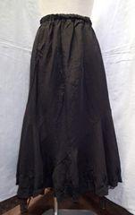 ■裾リボン刺繍&レース入り デザインスカート ロング丈 フレア