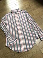 アングリッド ネイビー×赤×白トリコロール ストライプ柄シャツ
