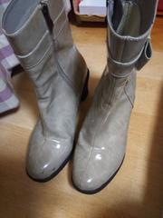 ★サイズLL オシャレデザイン レインブーツ 長靴 1回使用 エナメル 梅雨時 気品●