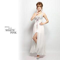 M ロングドレス Jewels インナーミニ ホワイト  新品 J1612