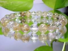 天然石金針ルチル水晶・クラック水晶8ミリ最強数珠
