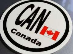 ○円形 カナダ国旗ステッカービークルID国識別シール