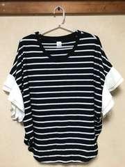 ボーダーTシャツ.袖を通しフリル.シフォン
