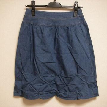 裾デザイン スカート 薄デニム風 Sくらい