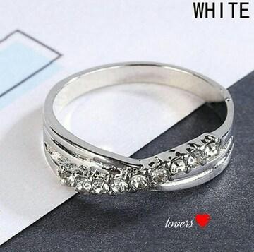 送料無料9号クロムシルバースーパーCZダイヤモンドリング指輪