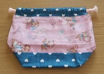 猫柄ピンク★お弁当袋コップ入れ★ポケットティッシュケースセット★