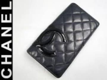 正規本物シャネル■カンボン長財布■良好■10番台ブラック×ピンク