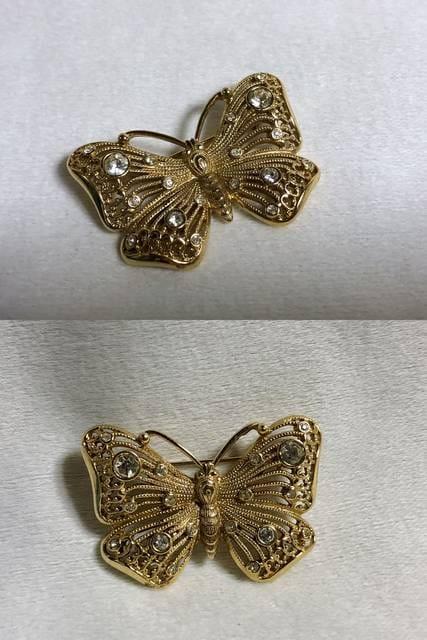 正規新古 廃盤 Diorディオール ヴィンテージ バタフライストーン装飾ブローチ ゴールド < ブランドの