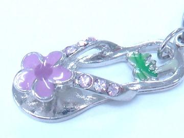 *handmade*可愛いサンダルデザインのファスナーチャーム(紫