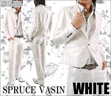ショート丈光沢地シャンブレースーツ■ホワイトM