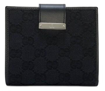 新品同様正規グッチ財布二つ折りGGキャンバスレディースフ