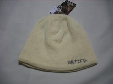 wb156 女 BILLABONG ビラボン ウール ニット帽 内側フリース 黄
