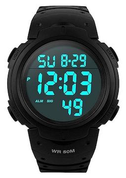 メンズ デジタル腕時計 防水 50メートル防水 ブラック大文字盤