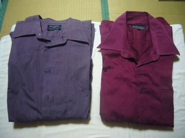 ★古着★カジュアルシャツレッドパープル★2枚