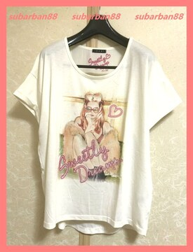☆イング☆超美品☆涼感♪ガール柄シフォンコンビゆるTシャツ☆