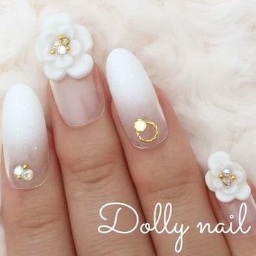 みぢょ!オーバル美爪フラワーお花フレンチ純白ホワイトグラデーション結婚式