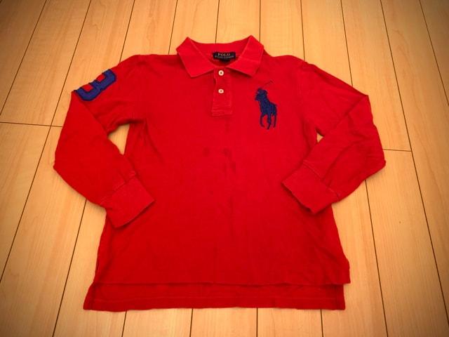 ラルフローレン 140 長袖ポロシャツ POLO 赤  < ブランドの