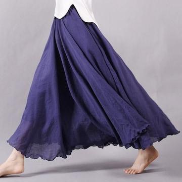 ふんわり★森ガール★マキシ丈スカート(フリーサイズ、紺)