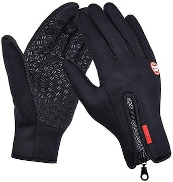 防寒 防風 防雨 バイク 自転車 タッチパネル グローブ 手袋 L 黒
