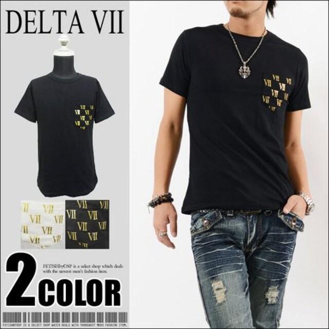 メール便送料無料【DELTA】Tシャツ70680新品黒金M  < 男性ファッションの