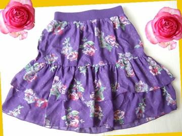199新品★腰リブ 紫 エレガントなミニスカート ボタニカル