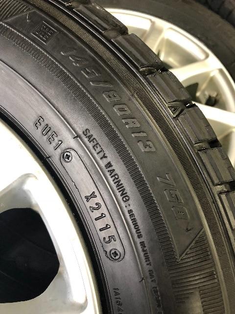 0101219)国産グッドイヤ-スタッドレスタイヤアルミホイ-ル4本セット145/80R13送料無料 < 自動車/バイク