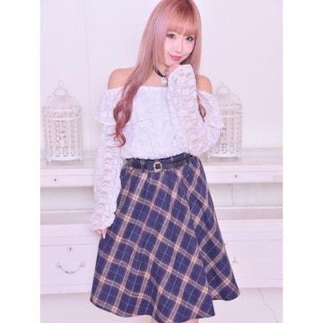 美品★MA*RS マーズ★ベルト付チェック柄フレアスカート ネイビー/M