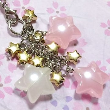 【handmade】シューティングstar*strap*ミルキーPINK
