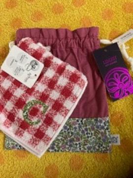 タオルハンカチギンガムチェックR+巾着袋小花柄