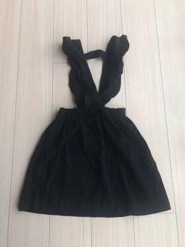 美品 ZARA キッズ スカート ジャンパースカート 黒 150