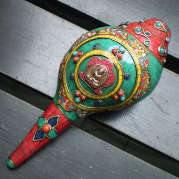 天然石装飾 シャンカ・法螺貝(仏陀) 密教法具