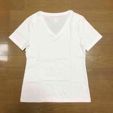 【超美品】V首 半袖コットンTシャツ/GU/ホワイト/M/綿100%