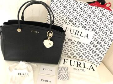 超美品 FURLA フルラ 斜め掛けハンドバッグ ブラック黒 ほぼ新品