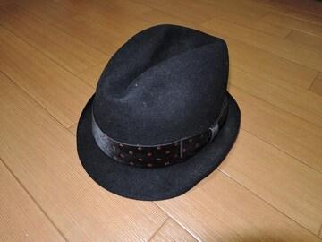 新品ワコマリアWACKO MARIAウールハットL黒ドット柄リボン