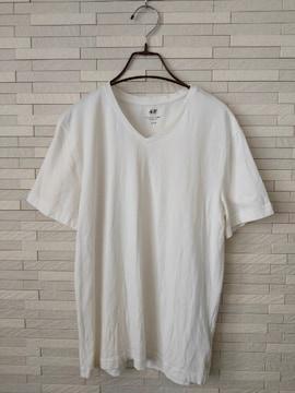 即決/H&M/メンズ/半袖VネックTシャツ/SLIM FIT/無地/白/M