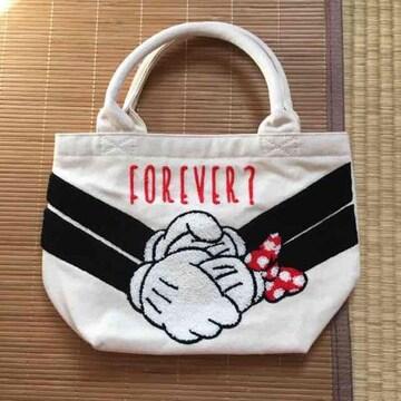 ディズニー・ロゴ&ミッキーミニーハンドサガラ刺繍バッグ