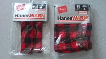 激安80%オフ日焼け対策、Hanes�@レッグウォーマー�Aアームカバー(新品、黒赤、L)